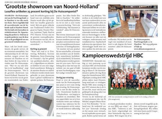 Haarlems nieuwsblad 24 mei 2018